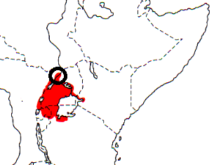 Northern Brown-throated Weaver map